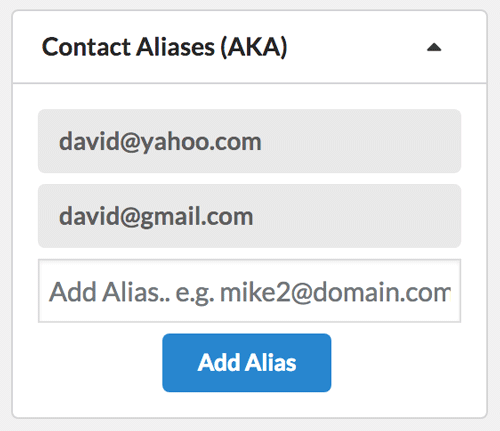 Add unlimited email addresses to each crm contact