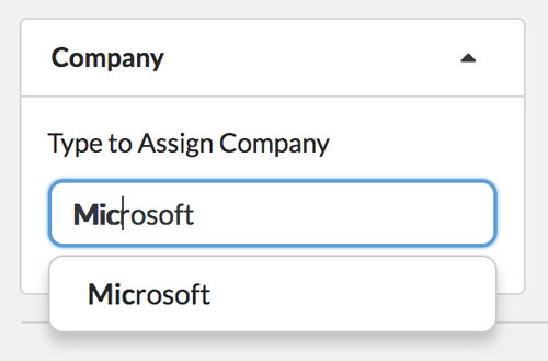 Assign contacts to companies for managing b2b sales